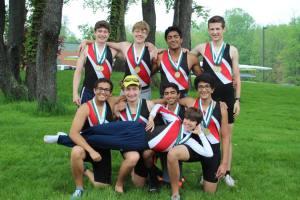 Gold Medal - Varsity Men 8+ (Back Row) Brendan Boettger, Steven Wagner, AJ Rai, Connor Halloran (Front Row) Kevin Monpara, John Benhart, Yash Lahoti, Kapil Sharma, and Tyler Clark (Cox)