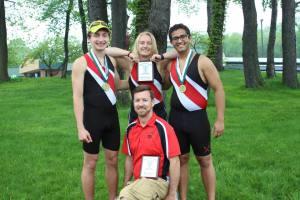 Seniors: John Benhart, Abby Elias, and Kevin Monpara with Coach RJ Pisani
