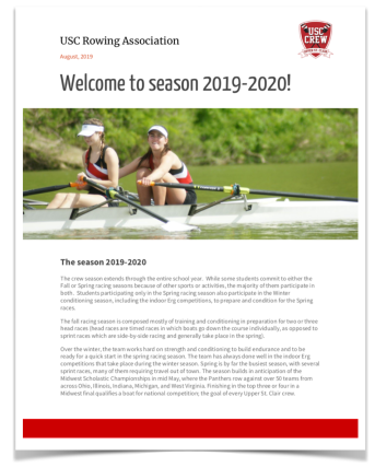 USC Rowing Newsletter 2019
