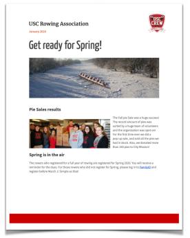 Newsletter Winter 2019-2020 USC Rowing CREW