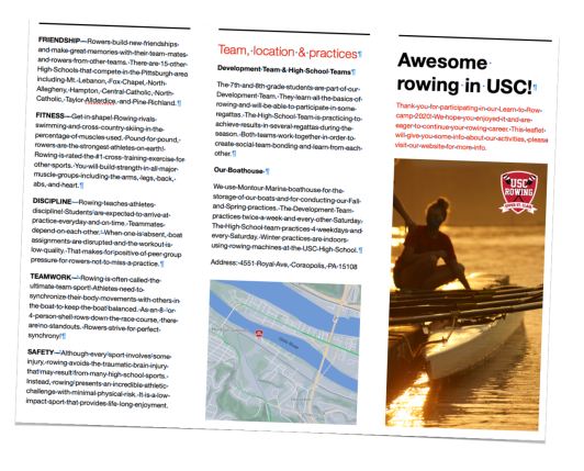 Leaflet Learn to Row Summer 2020